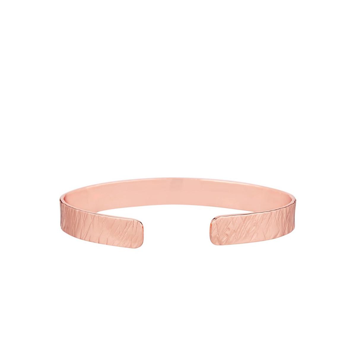 Bracelet jonc ouvert rosé sans message martelé