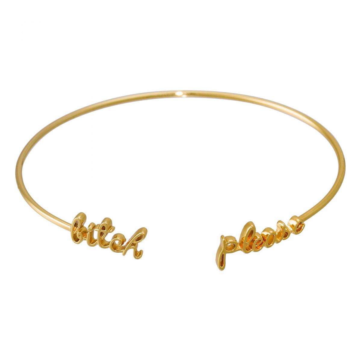 """""""BITCH PLEASE"""" bracelet jonc en fil lettering doré à message"""