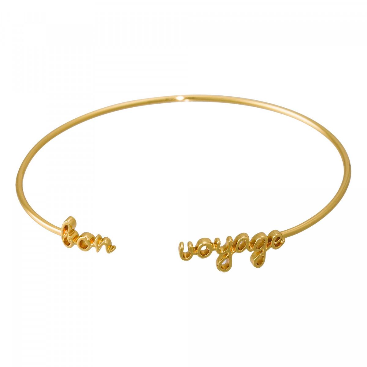 """Bracelet Jonc à message """"BRACELET BON VOYAGE"""" doré"""