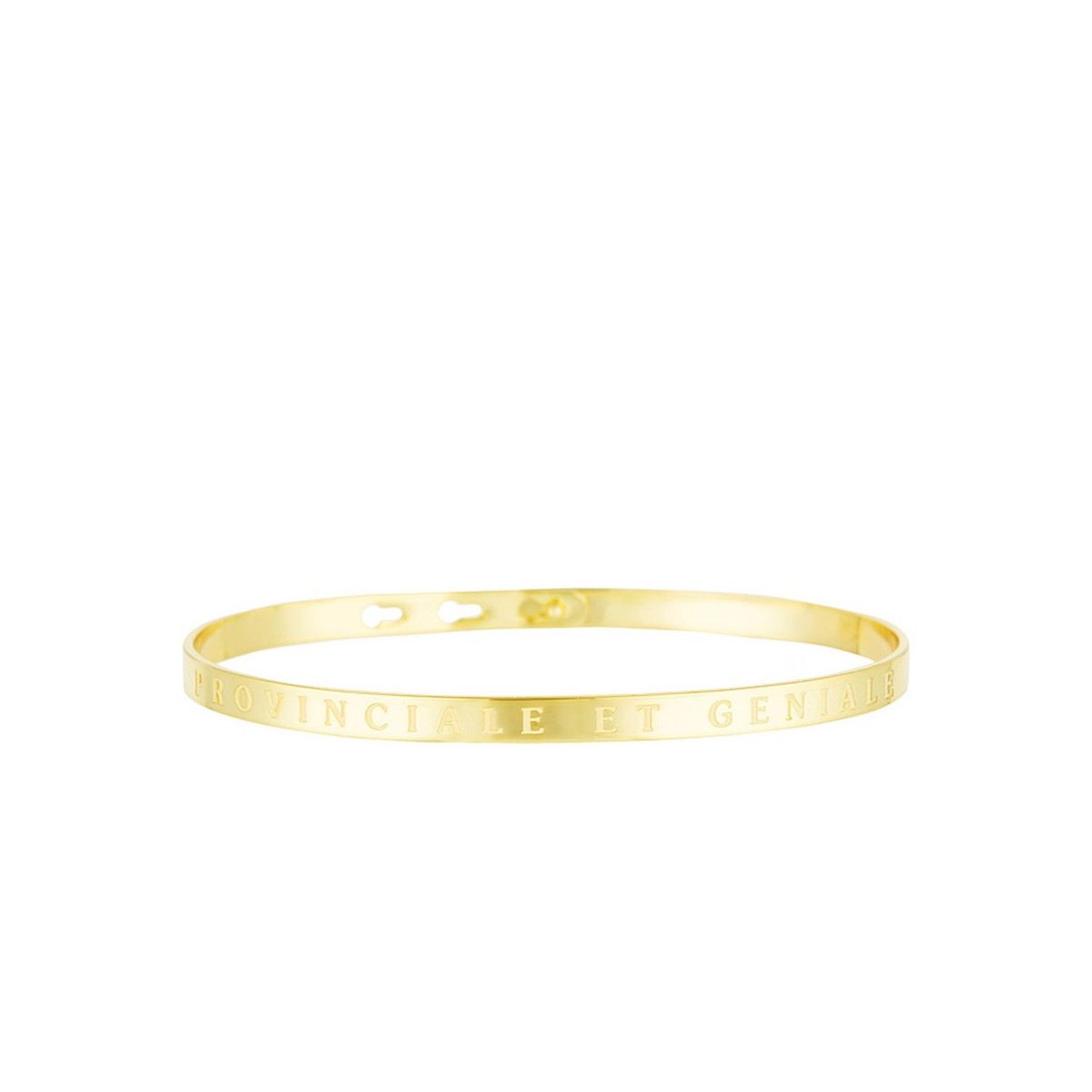 """Bracelet Jonc à message """"PROVINCIALE ET GENIALE"""" doré"""