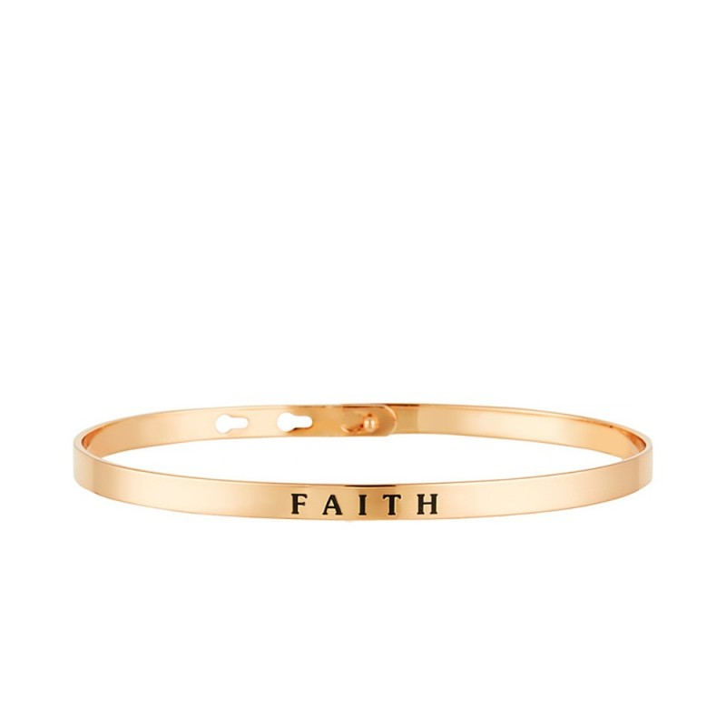 "Bracelet Jonc à message ""FAITH"" rosé"