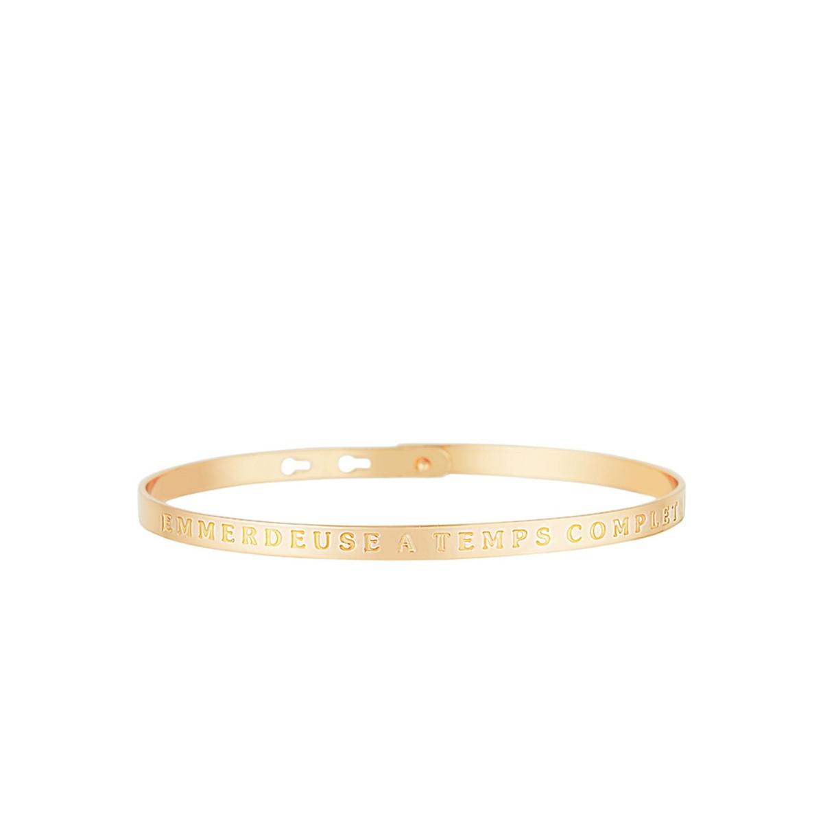 """Bracelet Jonc à message """"EMMERDEUSE À TEMPS COMPLET"""" doré"""