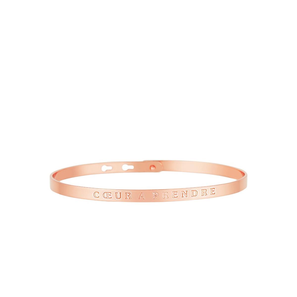 """Bracelet Jonc à message """"CŒUR À PRENDRE"""" rosé"""