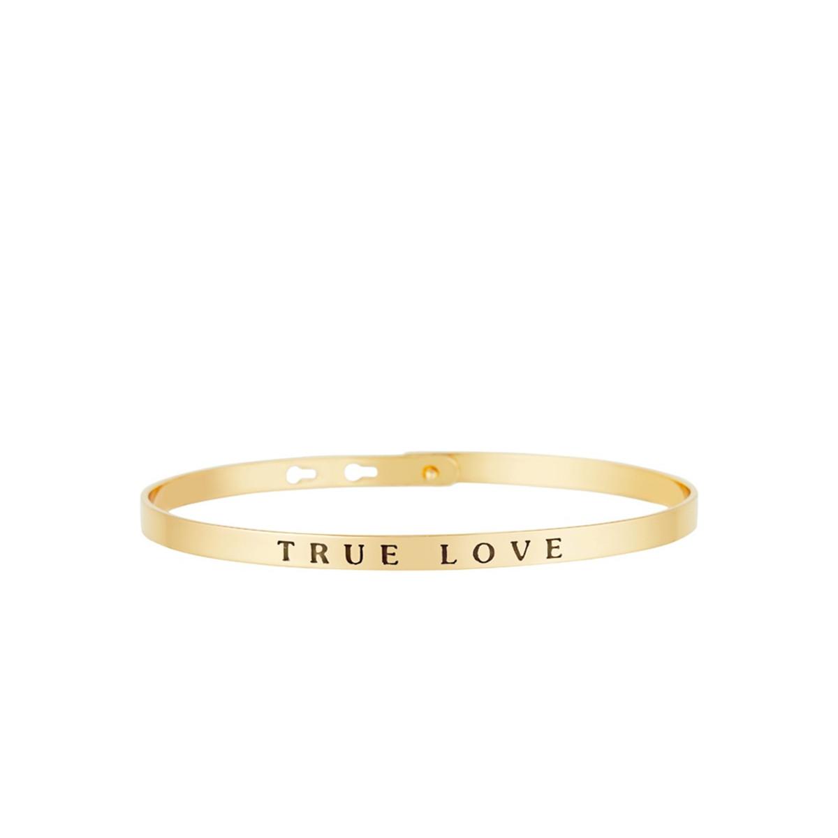 """Bracelet Jonc à message """"TRUE LOVE"""" doré"""