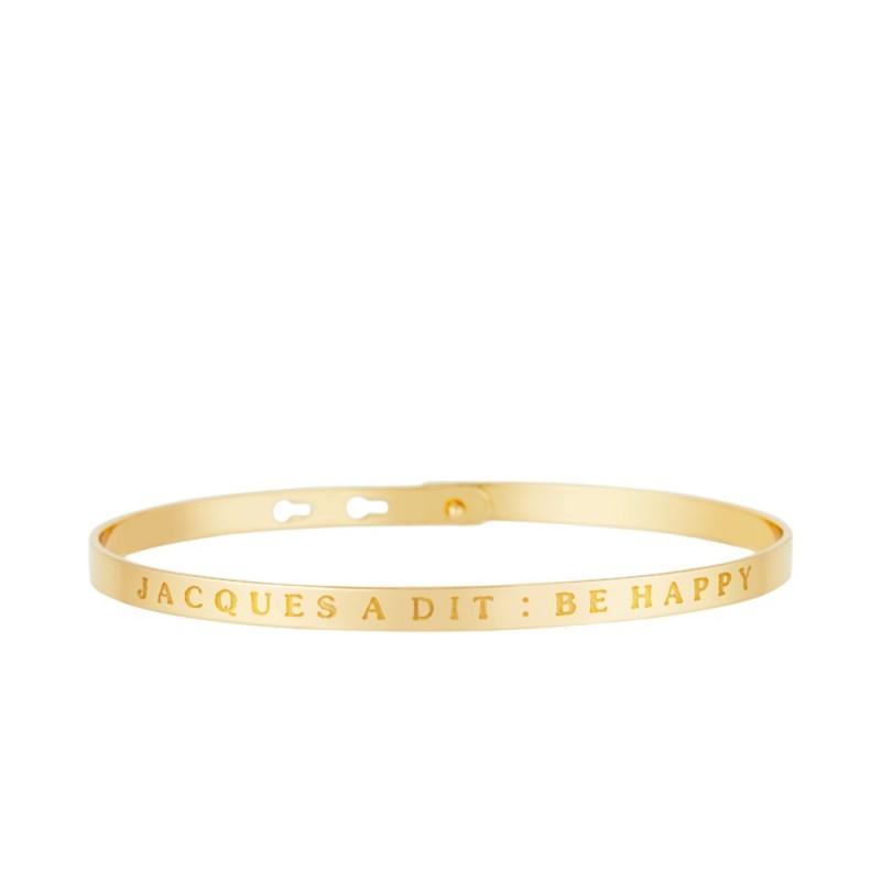 """Bracelet Jonc à message """"JACQUES À DIT: BE HAPPY"""" doré"""