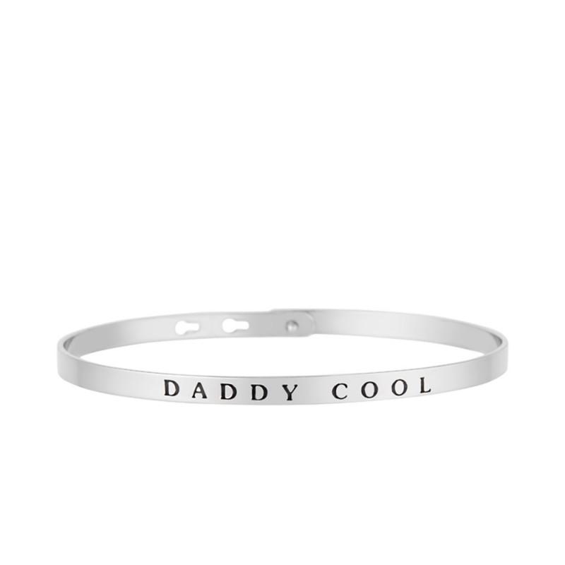 """Bracelet Jonc à message """"DADDY COOL"""" argenté"""