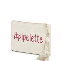 """Pochette à message """"#PIPELETTE"""" Beige et Rose - 17,5 x 11,5 x 1 cm"""