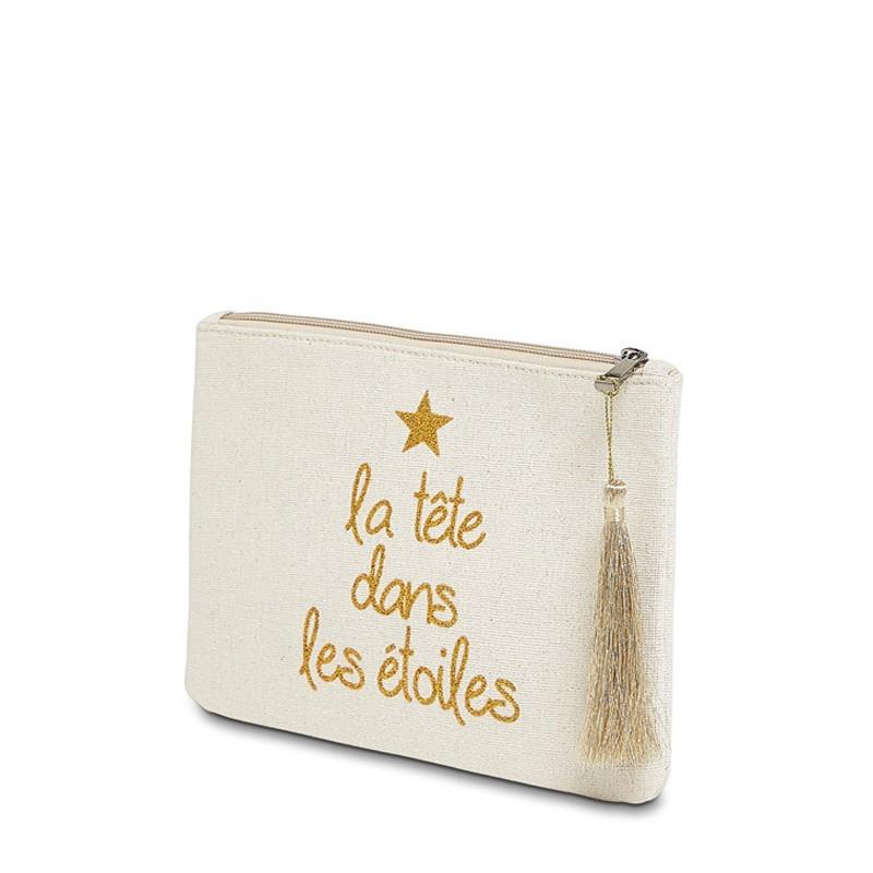 """Pochette à message """"LA TÊTE DANS LES ÉTOILES"""" Beige et Doré - 21,5 x 15,5 x 1 cm"""