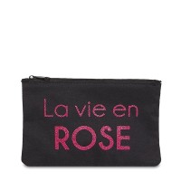 """Pochette à message """"LA VIE EN ROSE"""" Noire et Rose - 17,5 x 11,5 x 1 cm"""