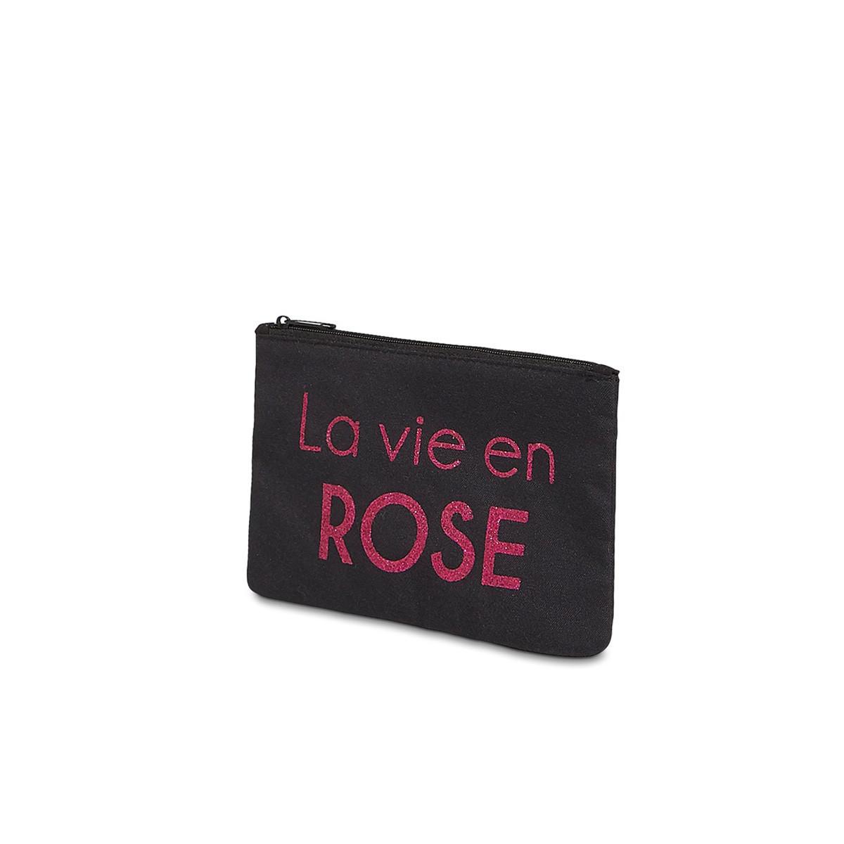 """Petite pochette à message """"LA VIE EN ROSE"""" Noire et Rose"""