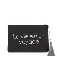 """Pochette à message """"LA VIE EST UN VOYAGE"""" Noire et Argenté - 17,5 x 11,5 x 1 cm"""