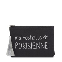 """Grande pochette à message """"PARISIENNE"""" Noire et Argenté"""