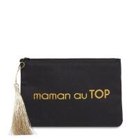"""Pochette à message """"MAMAN AU TOP"""" Noire et Doré - 17,5 x 11,5 x 1 cm"""
