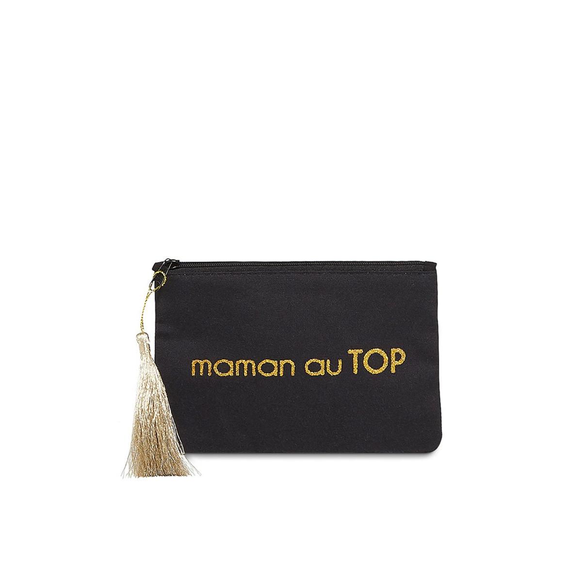 """Petite pochette à message """"MAMAN AU TOP"""" Noir et Doré"""
