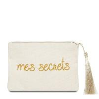 """Pochette à message """"MES SECRETS"""" Beige et Doré - 17,5 x 11,5 x 1 cm"""
