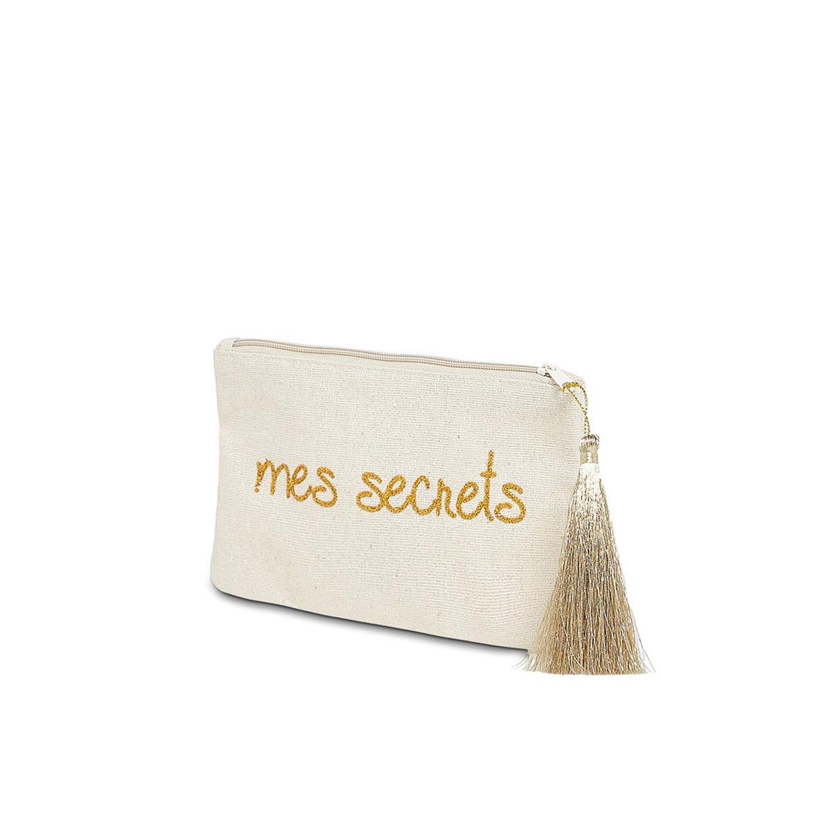 """Petite pochette à message """"MES SECRETS"""" Beige et Doré"""