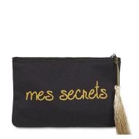 """Pochette à message """"MES SECRETS"""" Noire et Doré - 17,5 x 11,5 x 1 cm"""