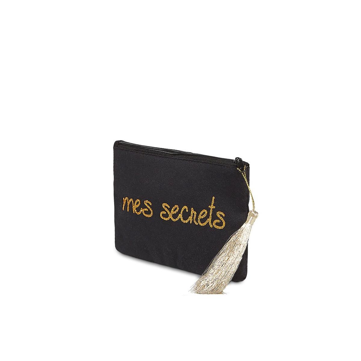 """Petite pochette à message """"MES SECRETS"""" Noir et Doré"""
