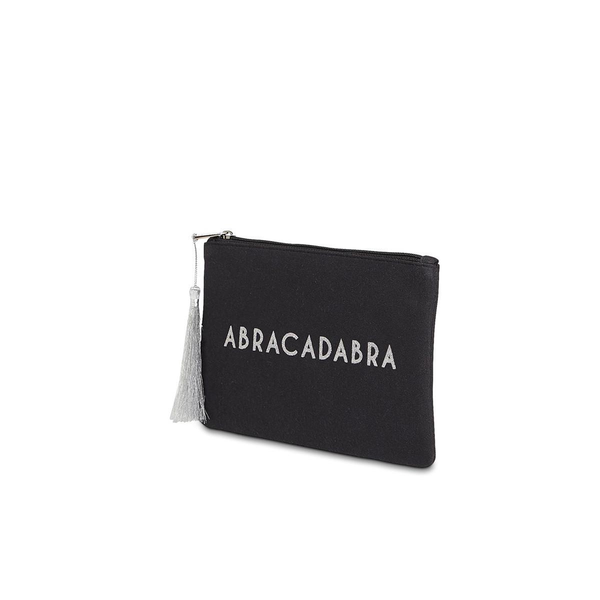 """Grande pochette à message """"ABRACADABRA"""" Noire et Argenté"""