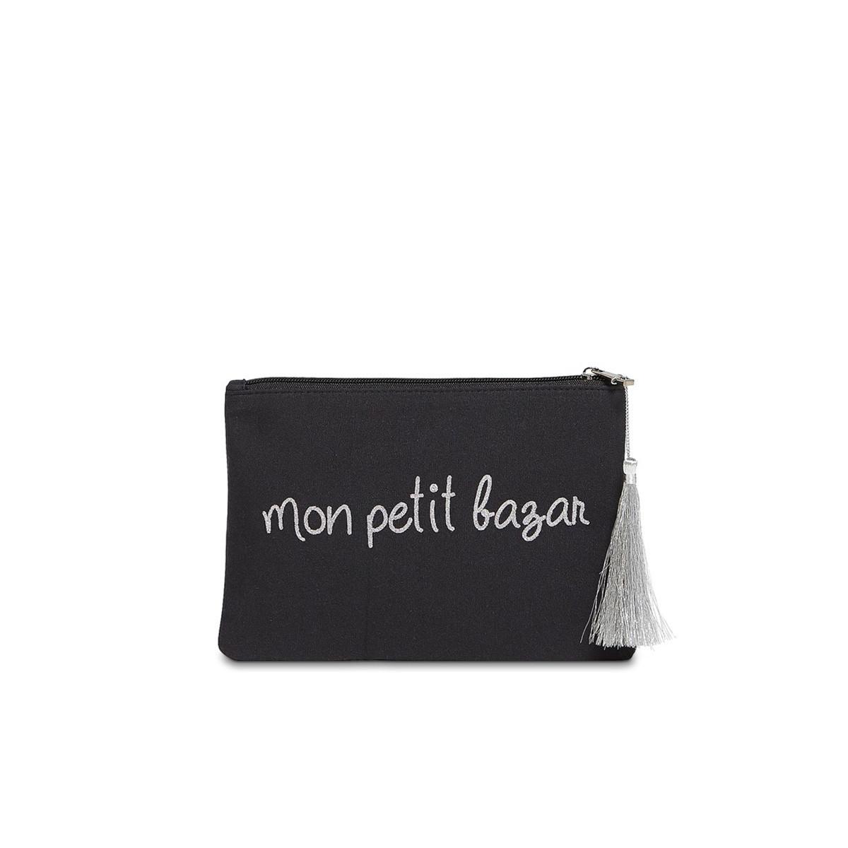 """Grande pochette à message """"MON PETIT BAZAR"""" Noire et Argenté"""