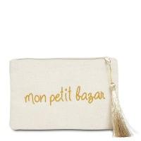"""Pochette à message """"MON PETIT BAZAR"""" Beige et Doré - 17,5 x 11,5 x 1 cm"""