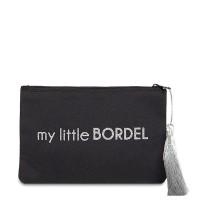 """Pochette à message """"MY LITTLE BORDEL"""" Noire et Argenté - 17,5 x 11,5 x 1 cm"""