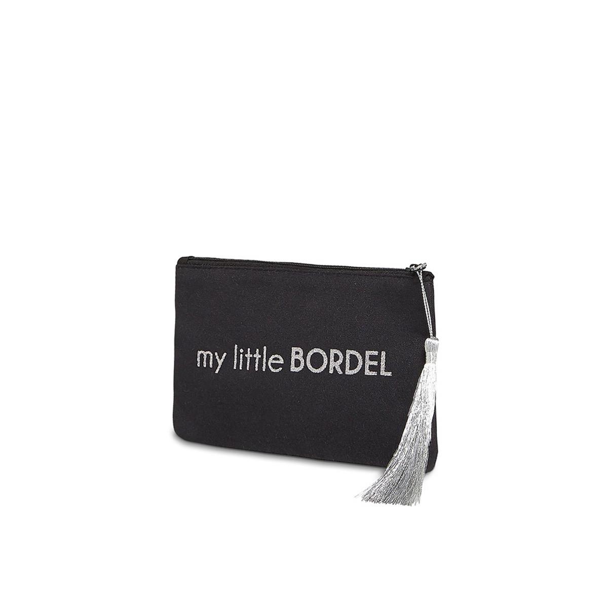 """Petite pochette à message """"MY LITTLE BORDEL"""" Noire et Argenté"""