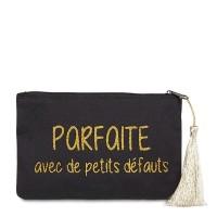 """Pochette à message """"PARFAITE AVEC DE PETITS DÉFAUTS"""" Noire et Doré - 17,5 x 11,5 x 1 cm"""