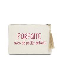"""Pochette à message """"PARFAITE AVEC DE PETITS DÉFAUTS"""" Beige et Rose - 21,5 x 15,5 x 1 cm"""