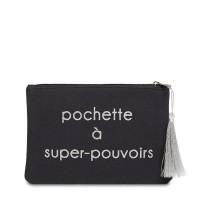 """Pochette à message """"POCHETTE À SUPER-POUVOIRS"""" Noire et Argenté - 21,5 x 15,5 x 1 cm"""