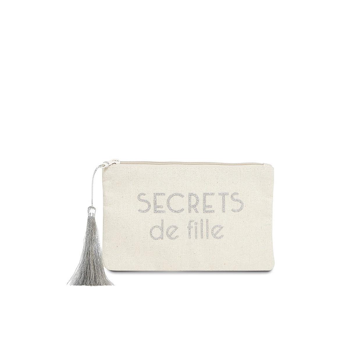 """Petite pochette à message """"SECRETS DE FILLES"""" Beige et Argenté"""