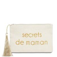"""Pochette à message """"SECRETS DE MAMAN"""" Beige et Doré - 17,5 x 11,5 x 1 cm"""