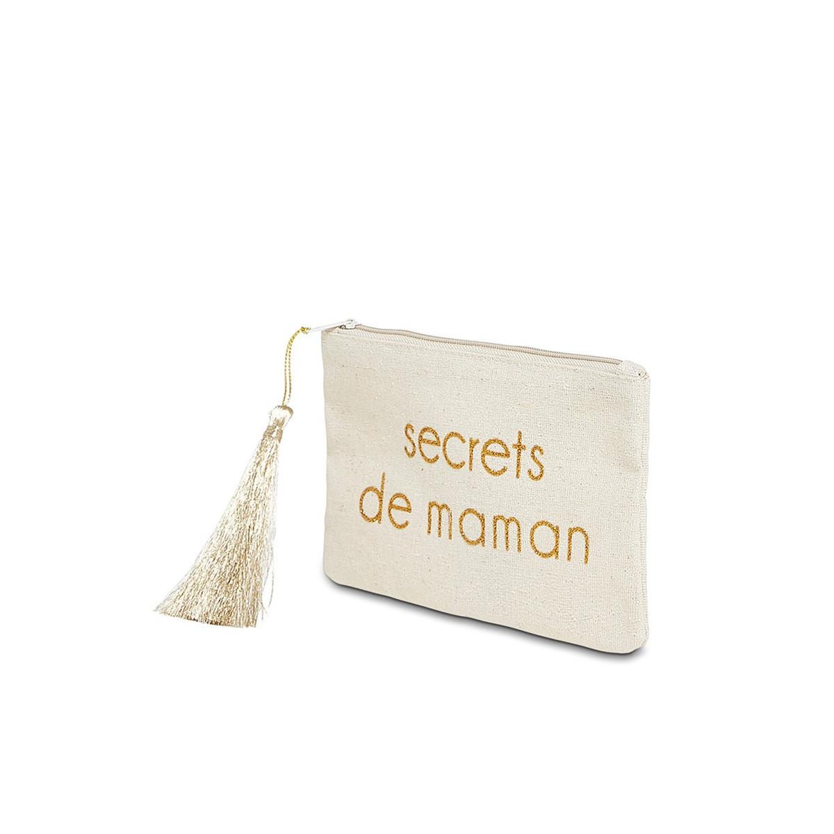 """Petite pochette à message """"SECRETS DE MAMAN"""" Beige et Doré"""