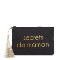 """Pochette à message """"SECRETS DE MAMAN"""" Noire et Doré - 17,5 x 11,5 x 1 cm"""
