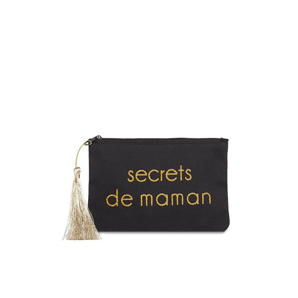 """Petite pochette à message """"SECRETS DE MAMAN"""" Noir et Doré"""