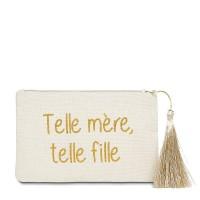 """Pochette à message """"TELLE MÈRE, TELLE FILLE"""" Beige et Doré - 17,5 x 11,5 x 1 cm"""