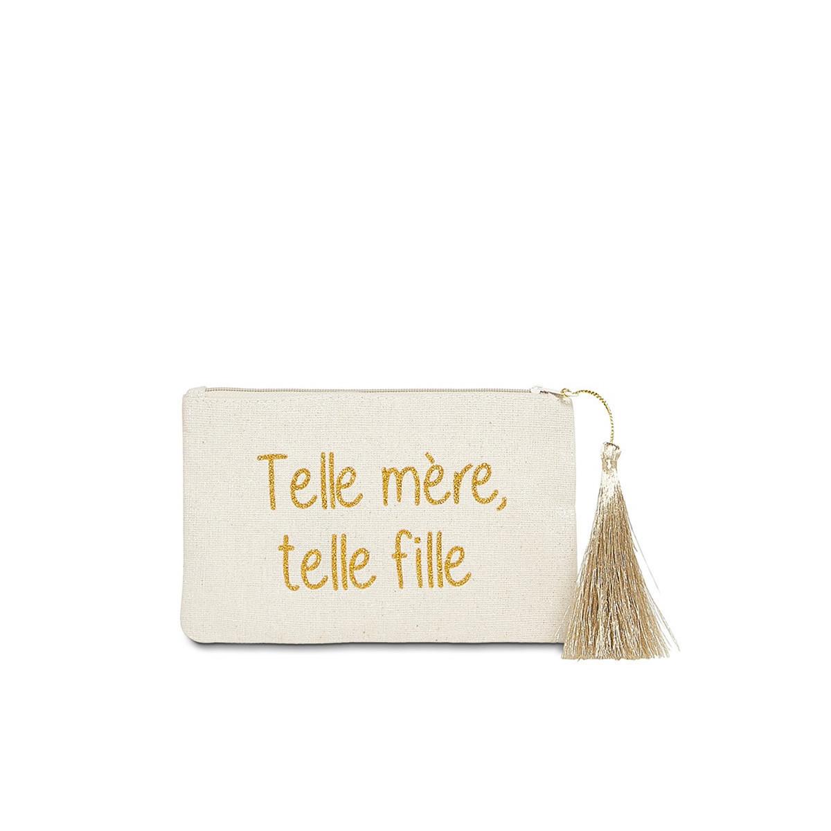 """Petite pochette à message """"TELLE MÈRE, TELLE FILLE"""" Beige et Doré"""