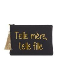 """Pochette à message """"TELLE MÈRE, TELLE FILLE"""" Noire et Doré - 21,5 x 15,5 x 1 cm"""
