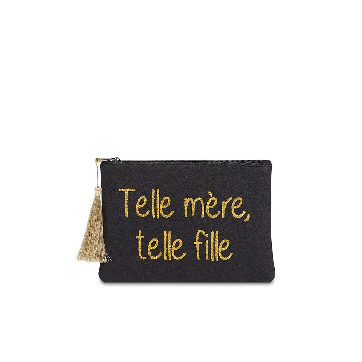 """Grande pochette à message """"TELLE MÈRE, TELLE FILLE"""" Noir et Doré"""