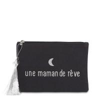 """Pochette à message """"UNE MAMAN DE RÊVE"""" Noire et Argenté - 21,5 x 15,5 x 1 cm"""