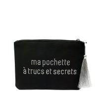 """Grande pochette à message """"MA POCHETTE  À TRUCS ET SECRETS"""" Noire/Argenté"""
