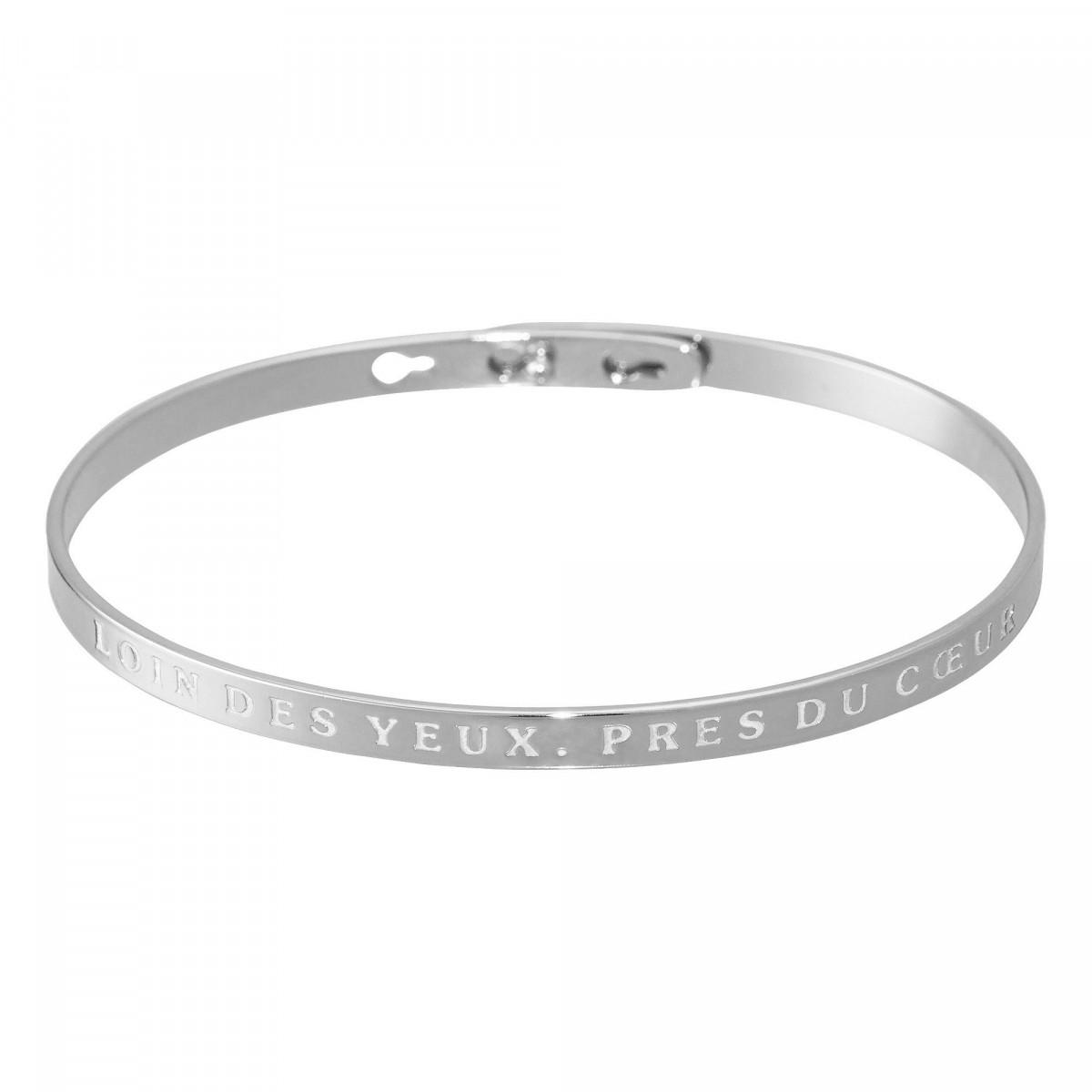 """""""LOIN DES YEUX, PRES DU COEUR"""" Jonc argenté bracelet à message"""