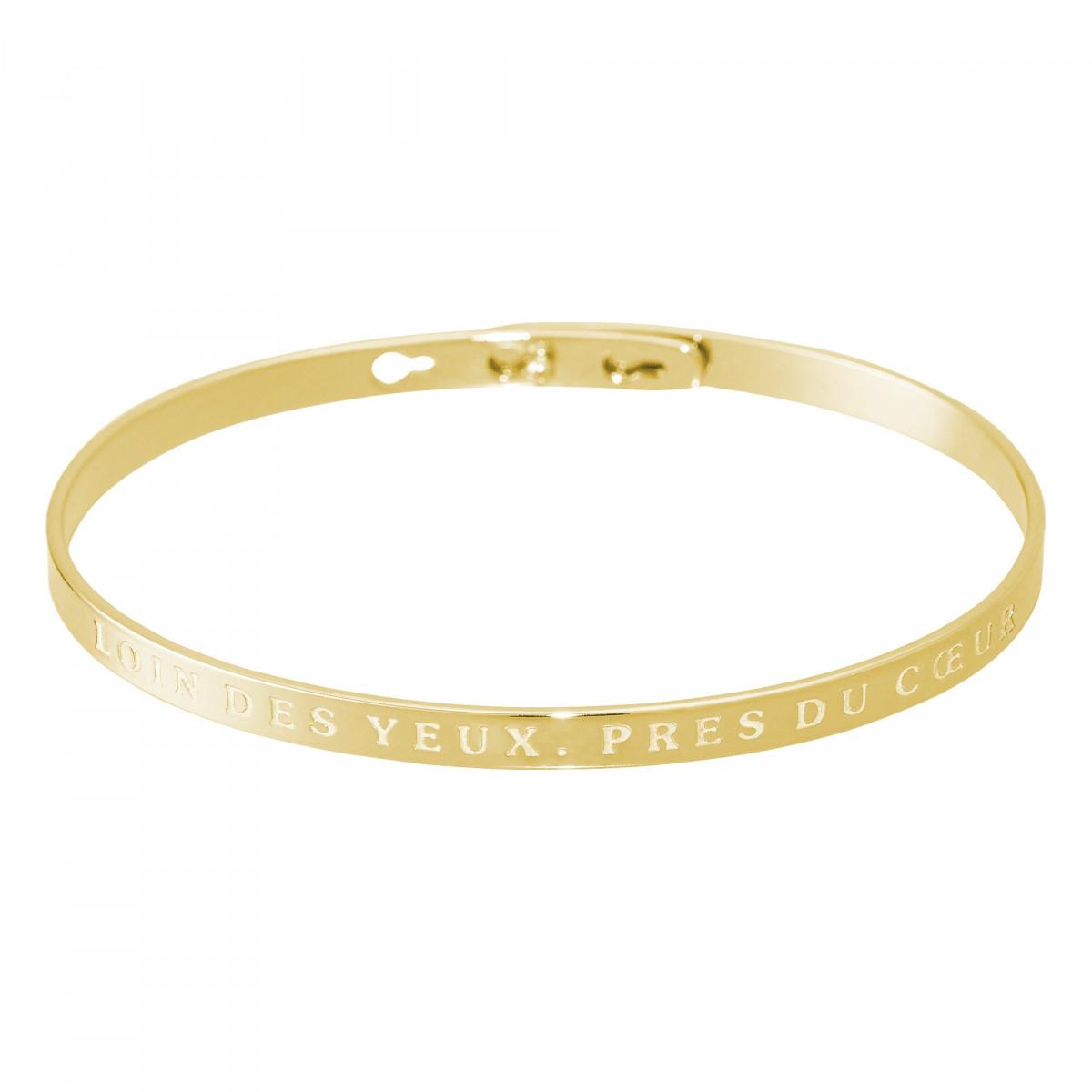 """""""LOIN DES YEUX, PRES DU COEUR"""" bracelet jonc doré à message"""