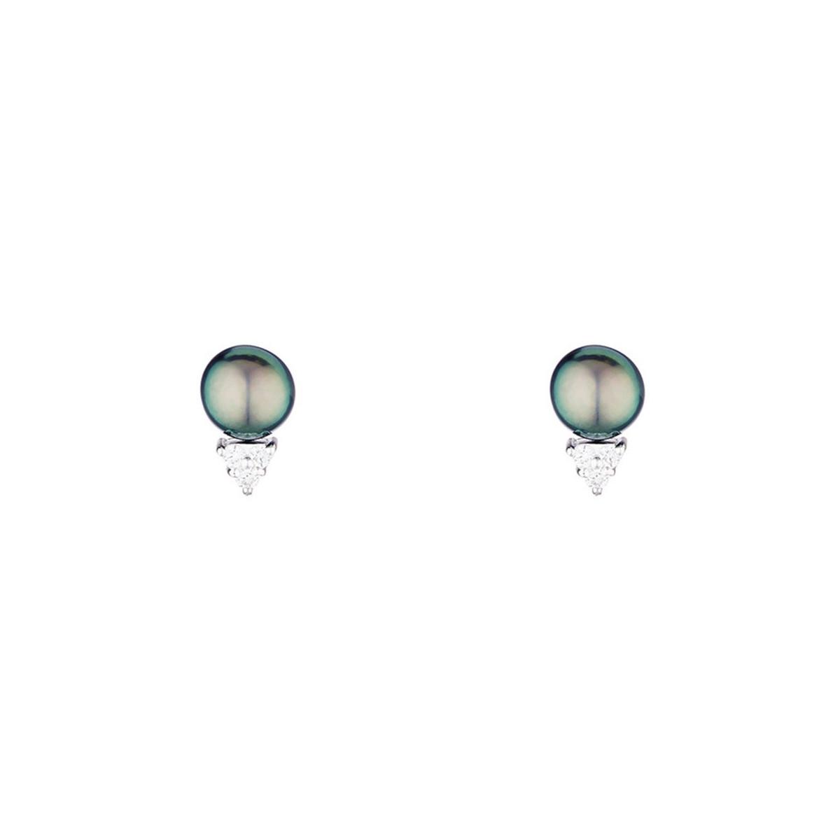 """Boucles d'oreilles argent et perles de cultures noires et oxydes de zirconium """"Trio"""""""
