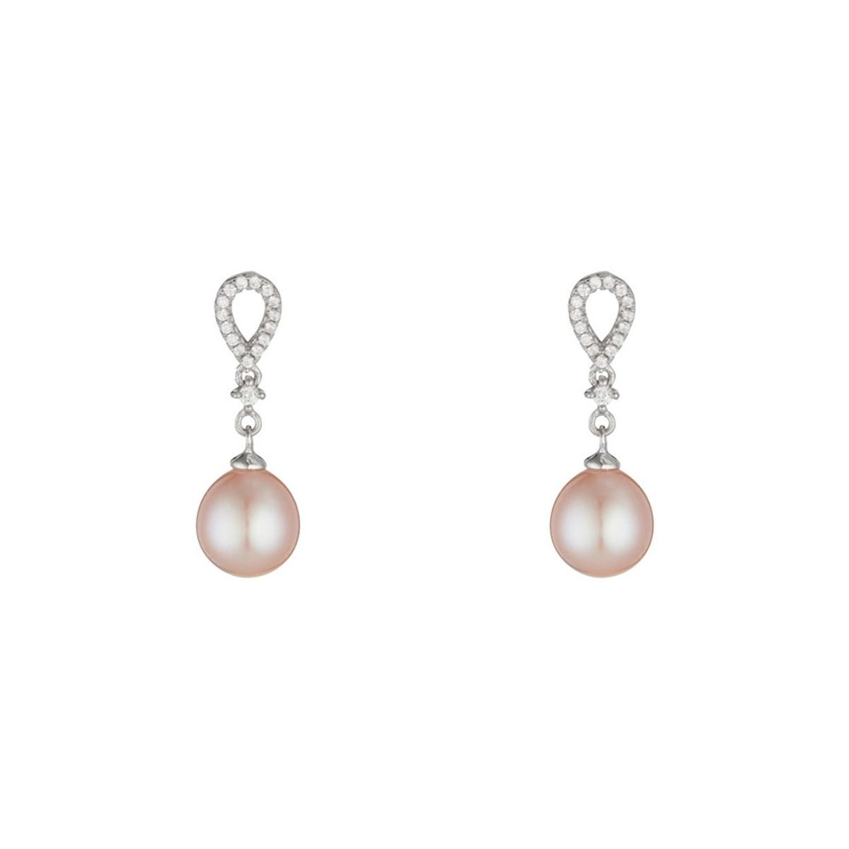 """Boucles d'oreilles argent et perles de cultures roses et oxydes de zirconium """"Natasha"""""""