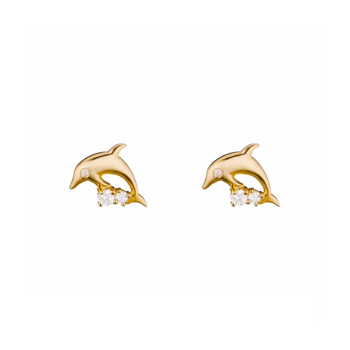 """Boucles d'oreilles or jaune et oxydes de zirconium """"Mon Dauphin"""""""