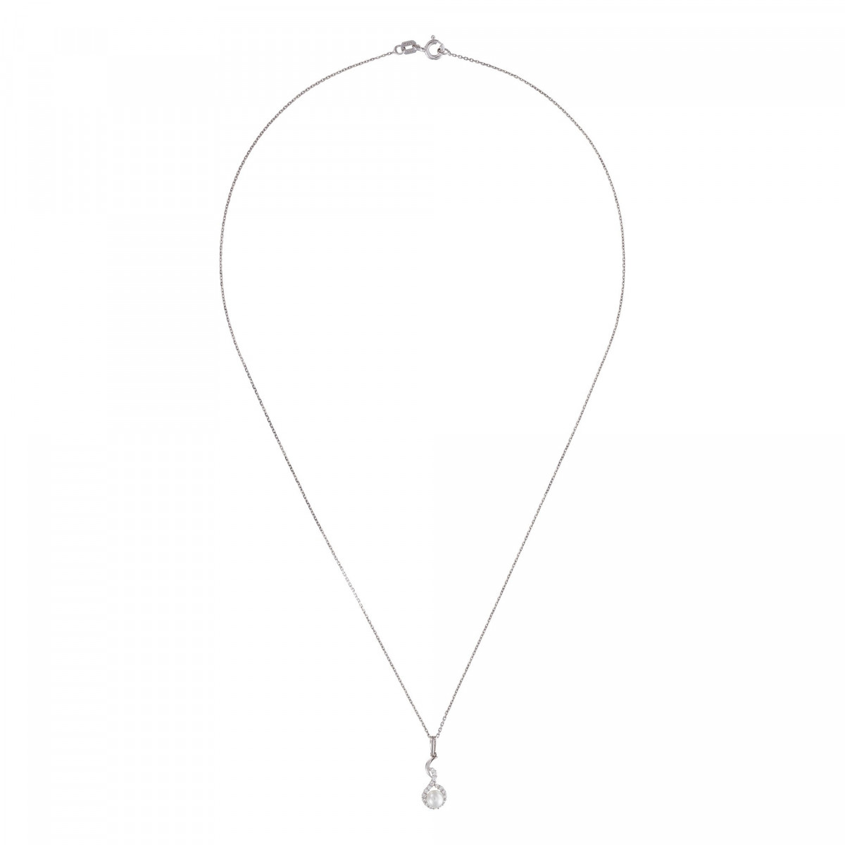 """Pendentif Or Blanc, perle de culture blanche et oxydes de zirconium  """"Voilé"""" + chaîne argent offerte"""