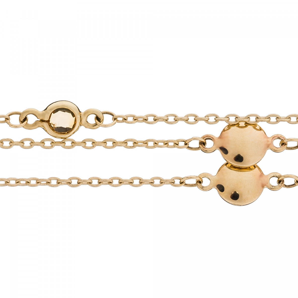 "Bracelet chaine or jaune et oxydes de zirconium ""Mélodie"""