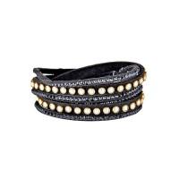 """Bracelet tissu noir orné de cristaux """"Mode """""""