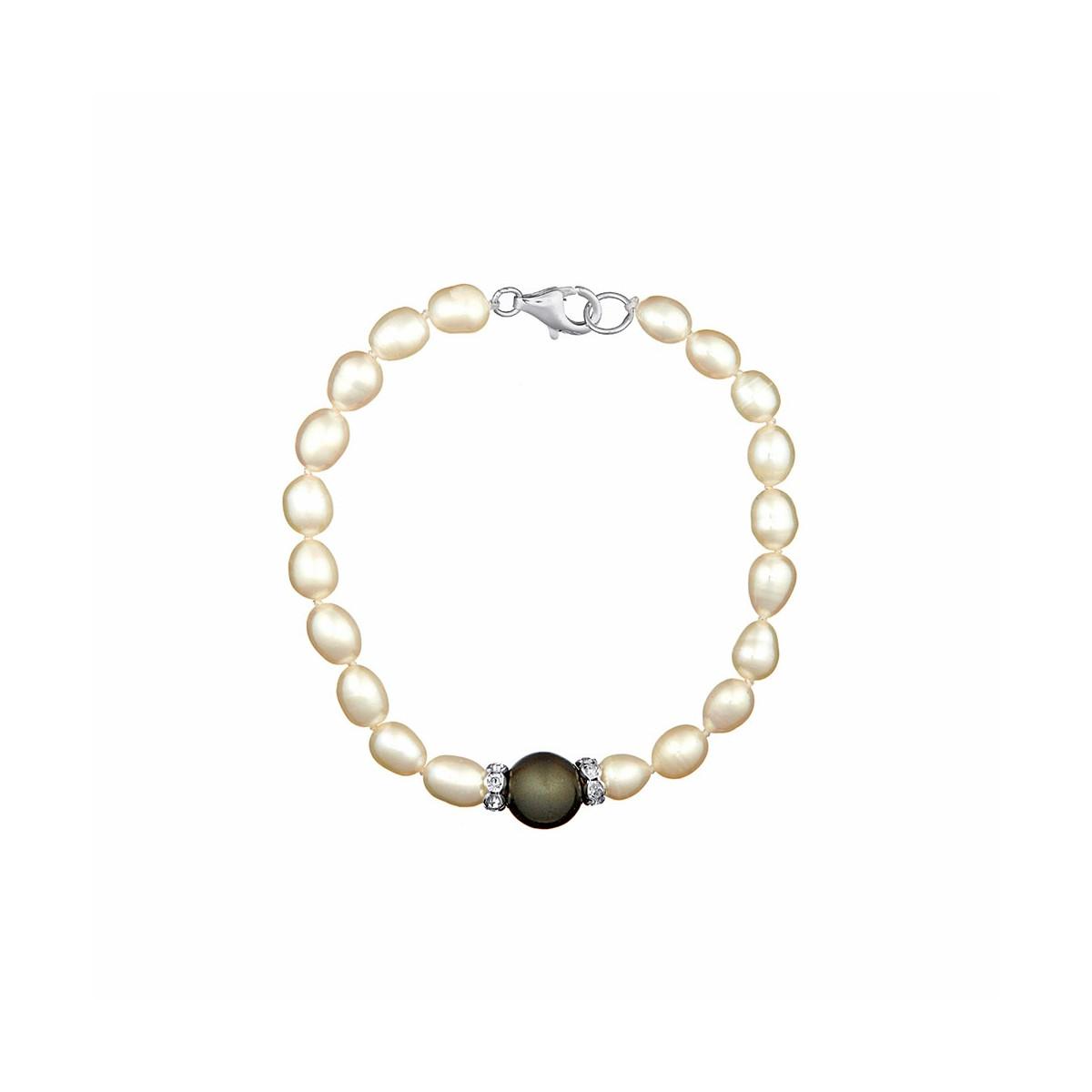 """Bracelet argent et perles de culture blanches et noires """"Jolie Nacre"""""""